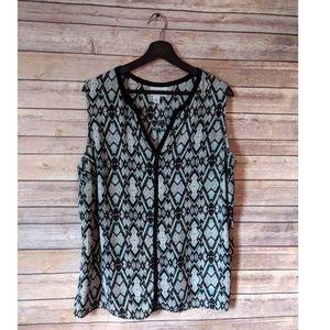 Pure Energy Aztec printed sleeveless blouse